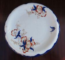 "Antique Wood & Son Hand Coloured Cake Plate - Azalea - Cobalt Blue/Red 11"""