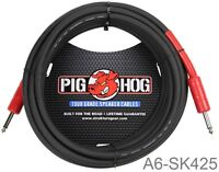 "25ft 1/4"" Male/Male Pig-Hog 8mm/OD 14-AWG wire Speaker Cable, A6-SK425"