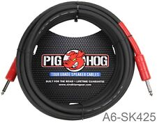 """25ft 1/4"""" Male/Male Pig-Hog 8mm/OD 14-AWG wire Speaker Cable, A6-SK425"""