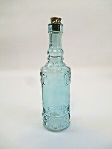 """Decorative Glass Bottles with Corks Blue Green Peach Clear Approx. 7"""""""