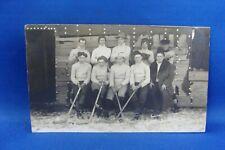 1907 RPPC HOCKEY TEAM SENT TO BRUDNELL, ONT.  POSTCARD
