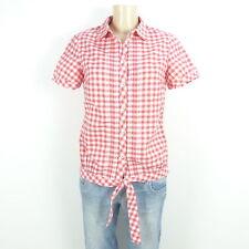 ESPRIT Bluse Hemd Damen Kariert Rot Weiß Knoten Gr. 36 S