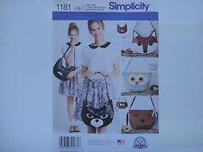 Simplicity 1181 Bags, Carla Reiss, Animal Theme Bags, Cat, Dog, Owl, Fox Pattern