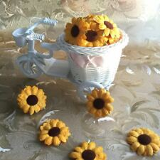 50 SUNFLOWERS MULBERRY PAPER FLOWER HANDMADE FOR CRAFTS SCRAPBOOK CARD