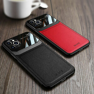 For iPhone 13 Pro Max 12 11 Pro XS XR 8 7 Slim Leather Silicone Phone Case Cover