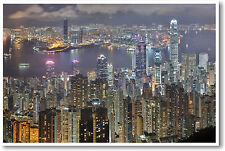 Breathtaking Hong Kong China - Foreign City Night Aerial View - NEW POSTER