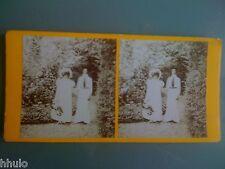 STC068 Couple étrange poupée mariage ? déguisement stereoview photo STEREO