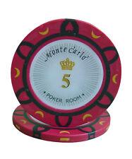 100pcs 14g Monte Carlo Poker Room Casino Poker Chips $5