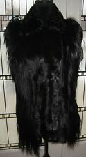 ADRIENNE LANDAU SHEARLING BIKER VEST OR JACKET BLACK SIZE L LARGE