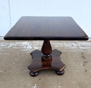 Vintage Ethan Allen Antiqued Pine Square Pedestal Cocktail Table #12-8054