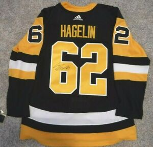 PITTSBURGH PENGUINS AUTOGRAPHED JERSEY CARL HAGELIN ADIDAS CLIMALITE WITH TAGS