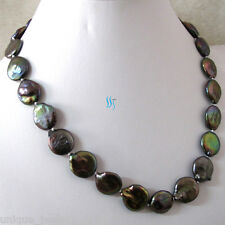 """18"""" 17-18mm Peacock With Copper Luster Coin Freshwater Pearl Necklace"""