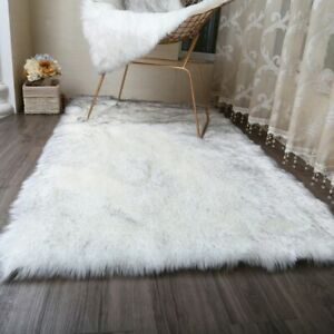 Hairy Carpets 2018 New Plain Fur Skin Fluffy Bedroom Artificial Area Square Rugs