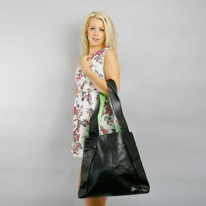 Boulevard Navona Large Leather Handbag/Shoulder bag. Black/Lime