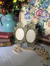 Elegant Art Nouveau Brass Double Picture Frame #4455