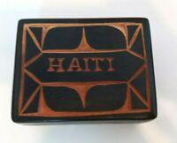 Haiti Wooden Box Vintage Souvenir Black Carved