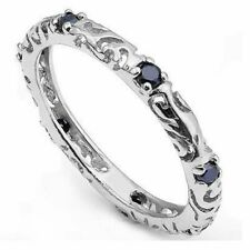 BLUE MIDNIGHT SAPPHIRE 925 STERLING SILVER ETERNITY SCROLL WORK RING Size 6