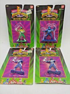 (4) 1993 Power Rangers Collectible Figures Blue 2 Green 1 Space Alien 1 G-PR