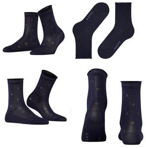 FALKE Tonal Dot Cotton Blend Socks Navy Size 37-38 $23 NWT