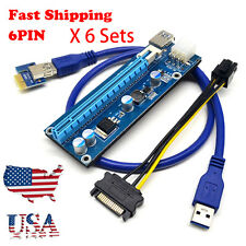 6 Sets USB 3.0 PCI-E Express 1x-16x Extender Riser Card Adapter 6Pin Power Cable