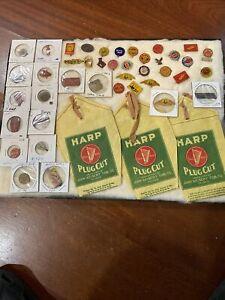 Tin Tobacco Tags Yankee Girl Early Bird  Big Winston Corn Juice 3 Bags 44 Total
