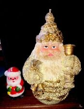 2 Wax Candles Figures Golden Santa & Mini Santa Never Used.
