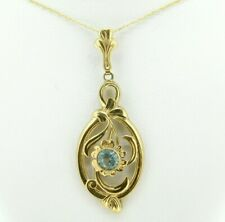 Retro 10K Yellow Gold Lavaliere Pendant with Rose Gold Flower (#J4329)