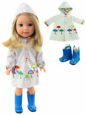 """White Raincoat & Blue Boots For 14.5"""" Wellie Wishers American Girl Doll Clothes"""