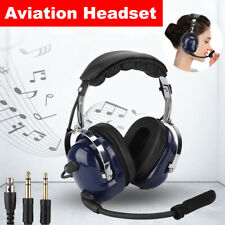 Aviation Headset Pilot Headphone GA Dual Plug 24dB Noise Reduction Audio Speaker