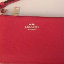 Coach Pebbled Leather DOUBLE Zip Wallet Wristlet Clutch-Carmine (Orange) 53089