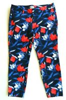 Women's Old Navy Pixie Ankle Length Mid Rise Red White Blue Floral Pants Sz 12