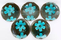 Japanese Red Clay Pottery Hand Painted Blue Floral Salad Plates x5 Stoneware