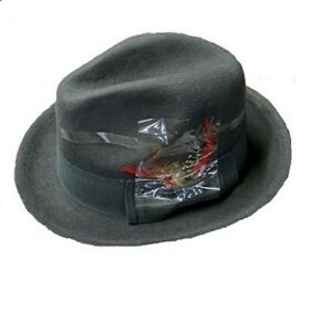 Men 's 100% Wool Fedora Trilby Hat  Black Khaki Brown Gray Navy S M L XL LH1
