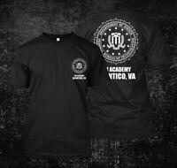 FBI academy 2 Quantico BW -  Custom Men's Black T-Shirt Tee
