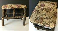 1920s-1940s Handmade Adirondack HICKORY Lodge Rustic Foot Stool Upholstery Brads