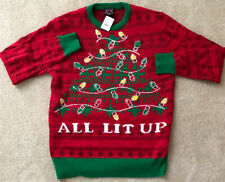 "All light Up "" Ugly Funny Tacky Christmas Sweater Men M NEW!"
