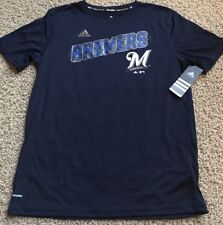 Milwaukee BREWERS Youth Boy's Large 14-16 ADIDAS Climalite Short Sleeve Top NWT