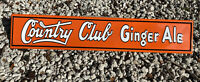VINTAGE COUNTRY CLUB GINGER ALE MBOSSED SIGN PORCELAIN GAS STATION SODA POP GOLF