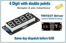 Amarillo de 4 dígitos pantalla LED Siete Segmentos TM1637 Controlador Arduino robotdyn Biblioteca.