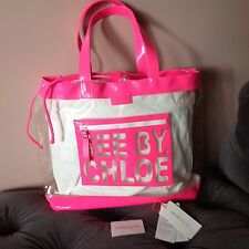 See By Chloe Oversized Vinyl Hot Pink Tote Bag.