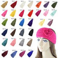 Women's Girl Knit Crochet Flower Elastic Headband Hairband Ear Warmer Headwrap