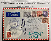 1954 Portugal Special Flight Airmail Cover To Zurich Switzerland Swiss Air 120