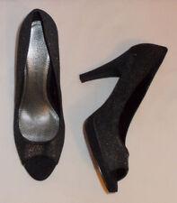 "New Ladies black/silver fabric 4"" heel peeptoe shoe size UK 8"