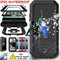 Aluminum Metal Shockproof IP54 Waterproof Glass Case Cover iPhone X 8 7 Plus 6 5