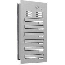 6er Premium V2A Mauer Durchwurf Briefkasten Anlage mit Klingel Postkasten A4