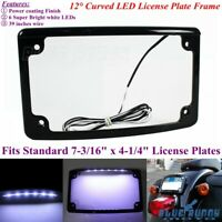 """1PC Motorcycle 12°Curved 6 White LED Light 7-3/16"""" x 4-1/4"""" License Plate Frame"""
