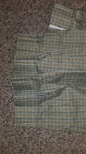 Pinch pleat blackout Drapery gray/green pinned Curtain 76Wx78L Print Fire Res
