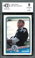 1988 Topps #327 Bo Jackson Card BGS BCCG 9 Near Mint+