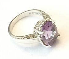 Kabana Oval Amethyst Ring In Sterling Silver Size 8 Crown Setting