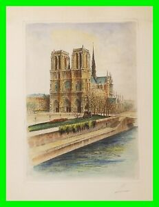 Antique Hand Tint Etching / Engraving Notre Dame De Paris Cathedral Signed Print